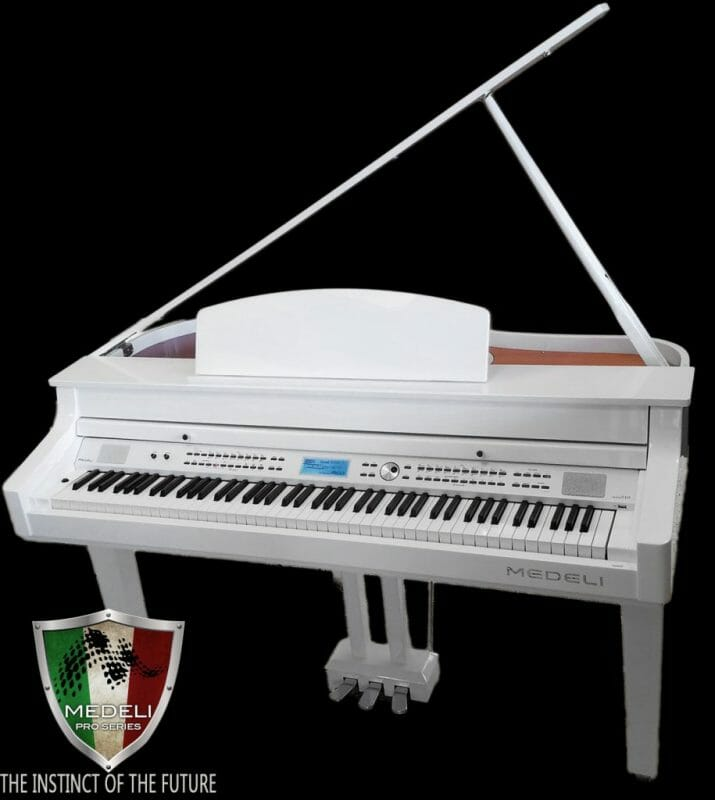 Medeli Digital Baby Grand White Polish