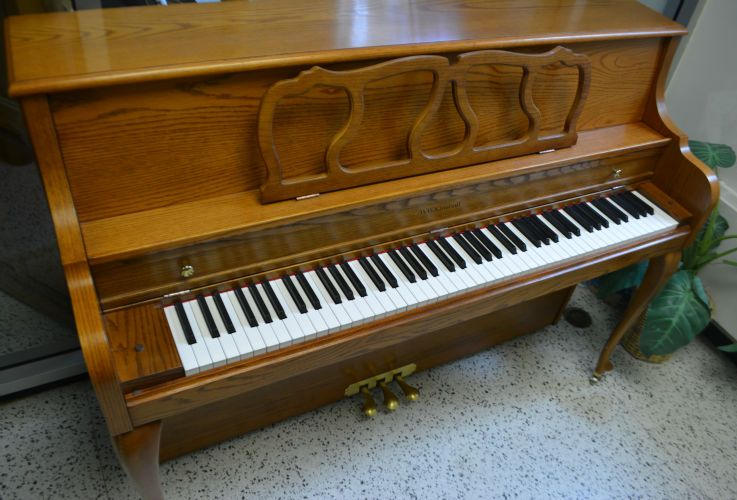 Kimball Console Piano - French Oak