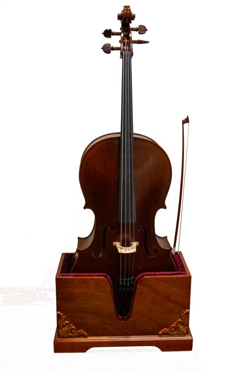 Vienna Strings Wooden Cello Stand Cherry with Carvings