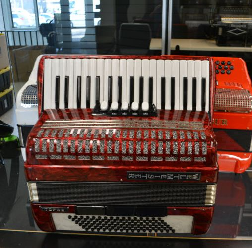 Used Weltmeister Topaz Piano Accordion - Red