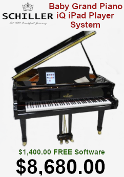 Schiller Baby Grand with iPad player on sale for $8,680.00. $1,400 free software