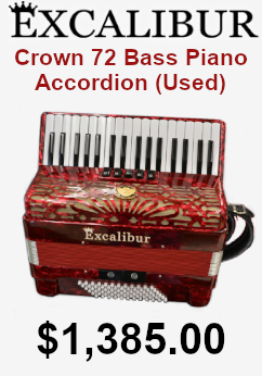 used excalibur crown 72 bass piano accordion on sale for $1,385.00