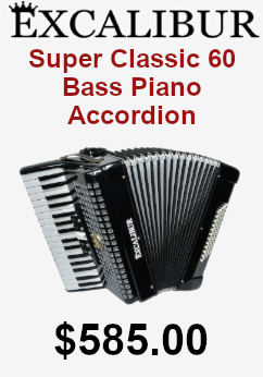 Excalibur Super classic 60 bass piano accordion on sale for $585.00