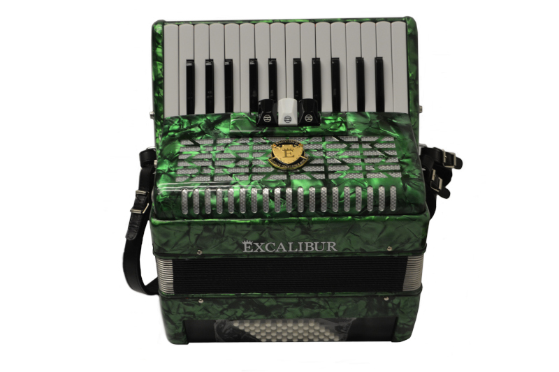 Excalibur Super Classic Ultralight 32 Bass Piano  Pro Accordion - Green