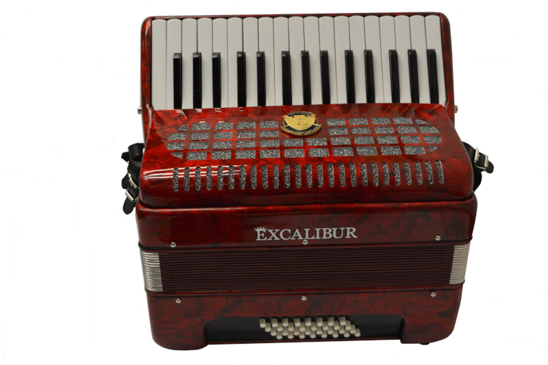 Excalibur Super Classic Ultralight 32 Bass Piano  Pro Accordion - Red