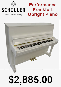 Schiller performance frankfurt upright piano white polish on sale for 2,885.00