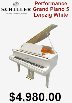 Schiller white polish leipzig grand piano on sale for $4,980