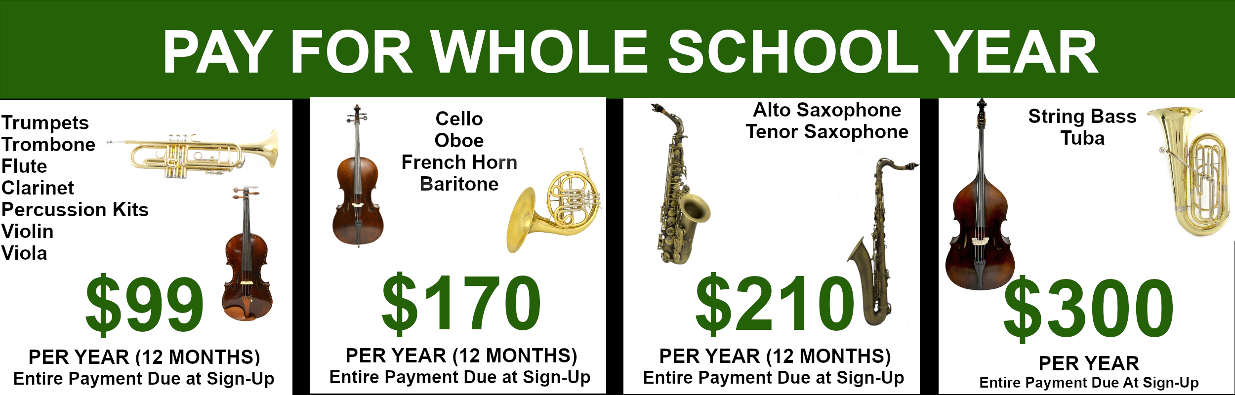 Rent select instruments for $99, $170, or $210 per year (12 months)