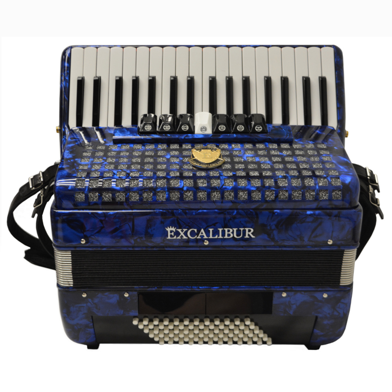 Excalibur Super Classic 72 Bass Piano Accordion Blue