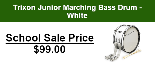 Trixon junior marching bass drum - white on sale