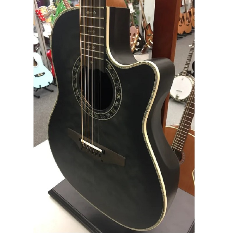 Ovation ExoticWoods Collection ExoticWood Legend® 12-String Deep Contour Black Satin Burst On Exotic Quilted Maple