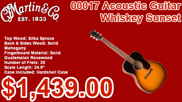 Martin 00017 Acoustic Guitar Whiskey Sunset on sale