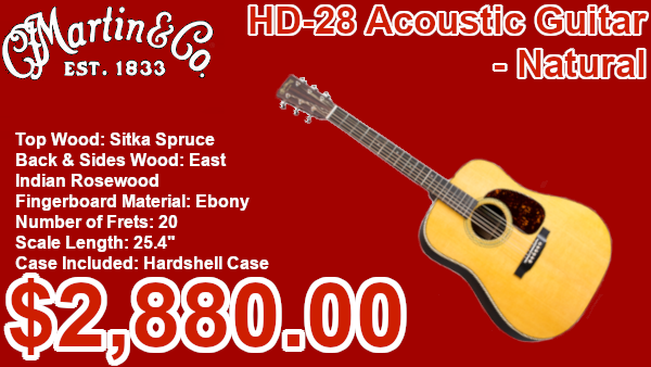 Martin HD-28 Acoustic Guitar Natural on sale