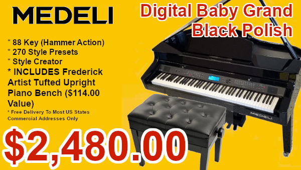 Medeli digital baby grand piano black polish on sale