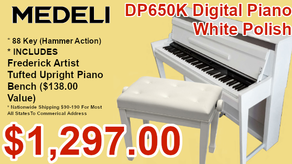 Medeli dp650k digital piano white polish on sale
