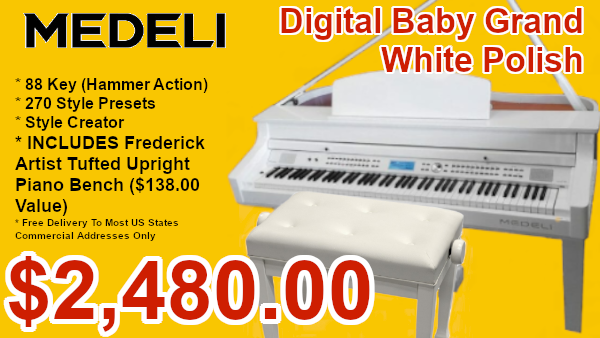 Medeli digital baby grand piano white polish on sale