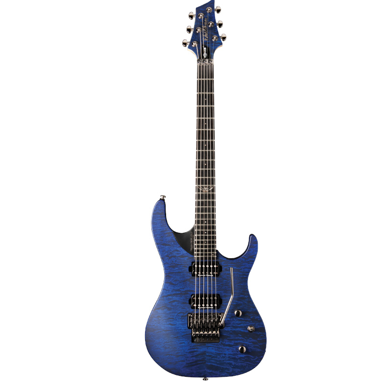 Washburn PXM10FRQTBLM-D Parallaxe PXM Double Cutaway Electric Guitar. Quilt Transparent Blue