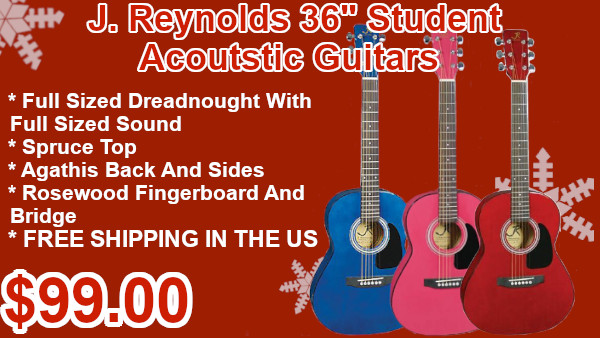J Reynolds 36in studen acoustic guitars in pink blue or red on sale
