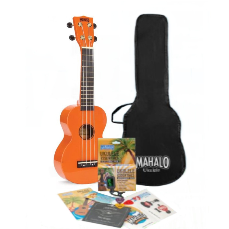Mahalo Rainbow Series Soprano Ukulele Pack - Orange
