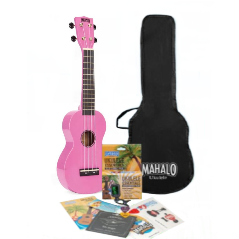 Mahalo Rainbow Series Soprano Ukulele Pack - Pink
