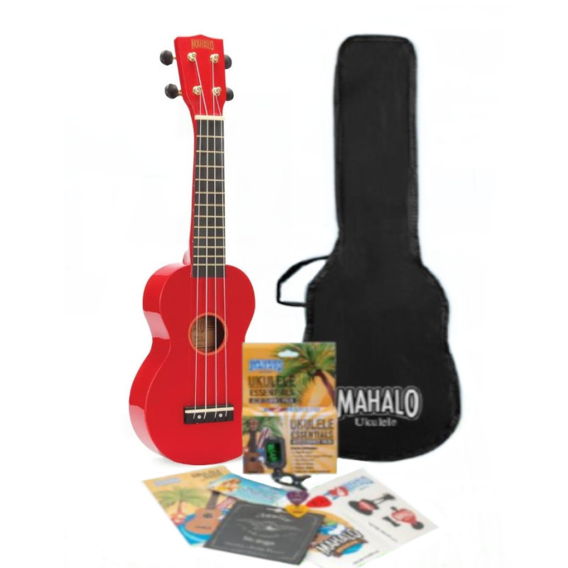 Mahalo Rainbow Series Soprano Ukulele Pack - Red