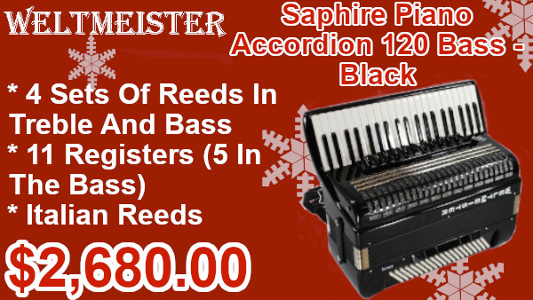 Weltmeister Saphire Piano Accordion 120 Bass Black on sale