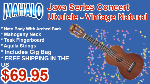 Mahalo Jave Series Concert Ukulele Vintage Natural on sale