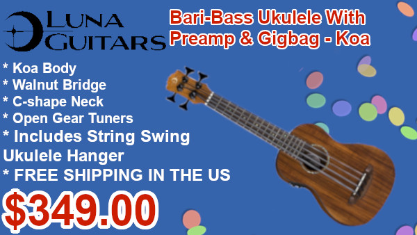 Luna Uke Bari-Bass w/ Preamp & Gigbag - Koa on sale