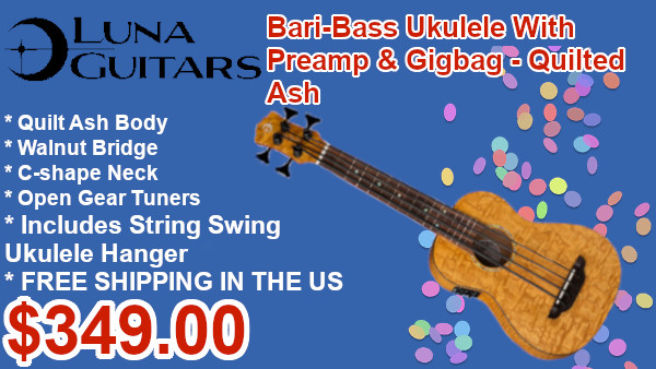 Luna Uke Bari-Bass w/ Preamp & Gigbag - Quilt Ash on sale