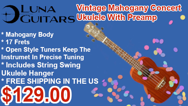 Luna Guitars Uke Vintage Natural Concert with preamp on sale