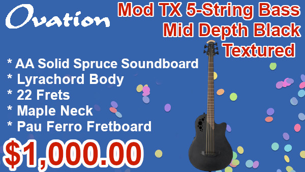 Ovation The Mod TX Collection Mod TX 5-String Bass Mid Depth Black Textured on sale