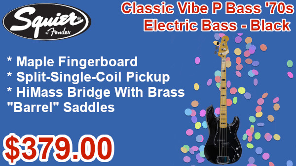 Squier® Classic Vibe P Bass® '70s Electric Bass Black on sale