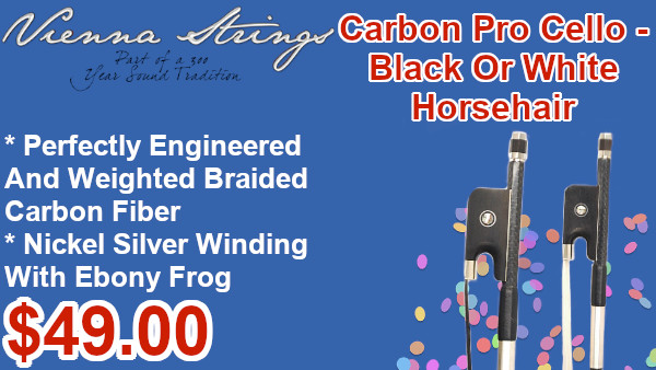 Vienna Strings Carbon Fiber Pro horsehair cello bows on sale