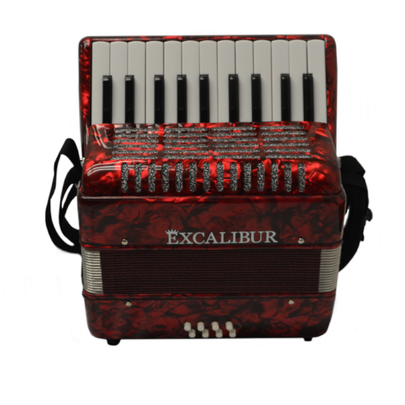 Excalibur Premier 22 Piano Accordion - Red