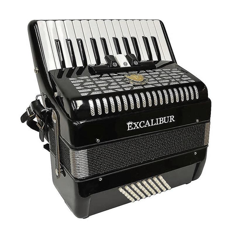 Excalibur Super Classic 48 Bass Ultralite Accordion- Ebony Polish
