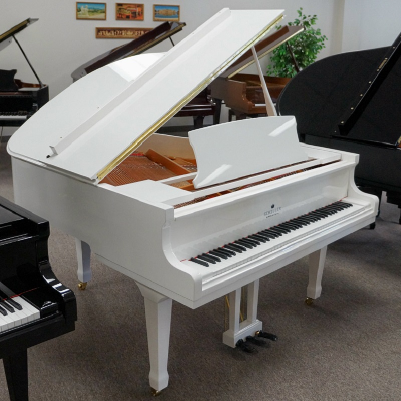 Schiller 5'3 White Polish 160 Baby Grand Piano
