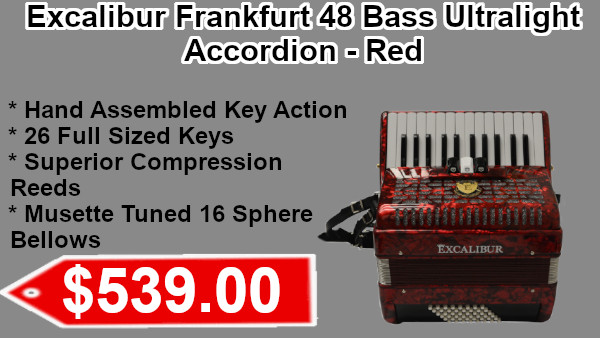 Excalibur Frankfurt 48 Bass Ultralight Accordion - Red on sale