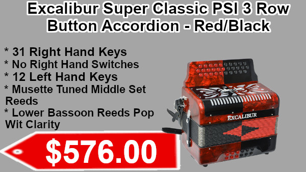 Excalibur Super Classic PSI 3 Row - Button Accordion - Red/Black on sale