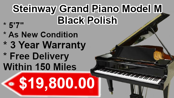 Steinway Grand Piano Model M Black Polish on sale
