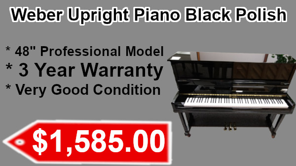 Weber Upright piano black polish on sale