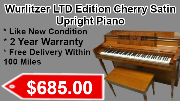 Wurlitzer LTD Edition Cherry Satin Upright piano on sale