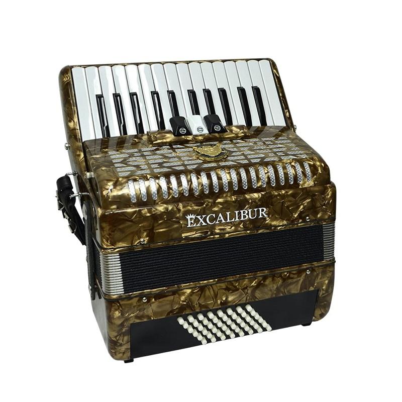 Excalibur Frankfurt 48 Bass Ultralight Accordion - Vintage Gold