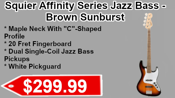 Squier Affinity Series Jazz Bass - Brown Sunburst on sale