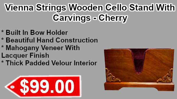 Vienna Strings Wooden Cello Stand Walnut with Carvingon sale