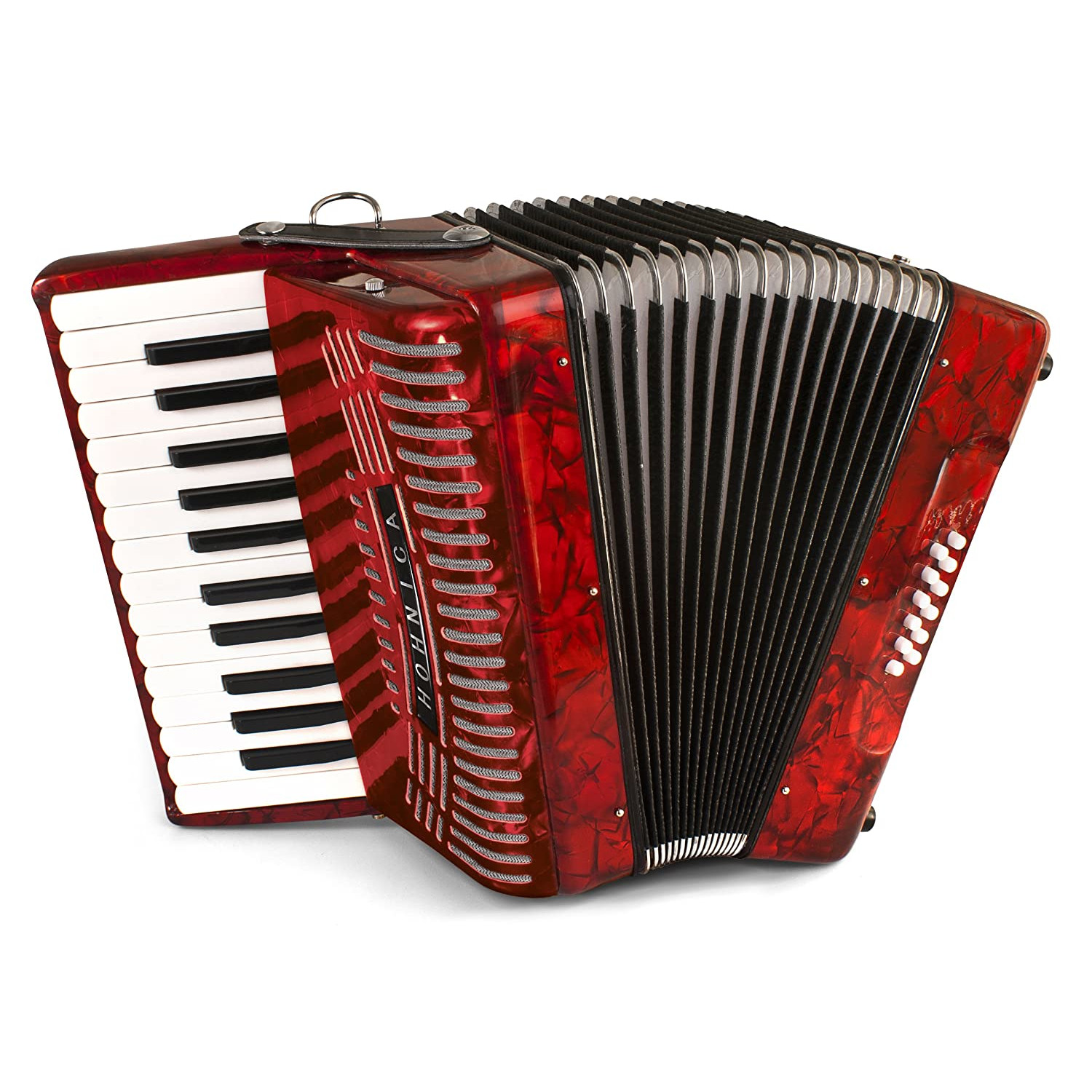 Hohner 12 Bass Entry Level Piano Accordion, pearl red