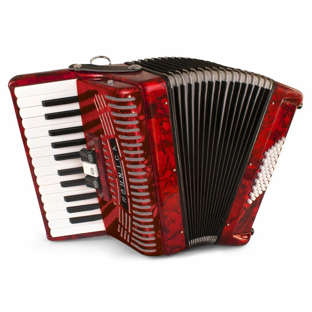 Hohner 48 Bass Entry Level Piano Accordion, pearl red