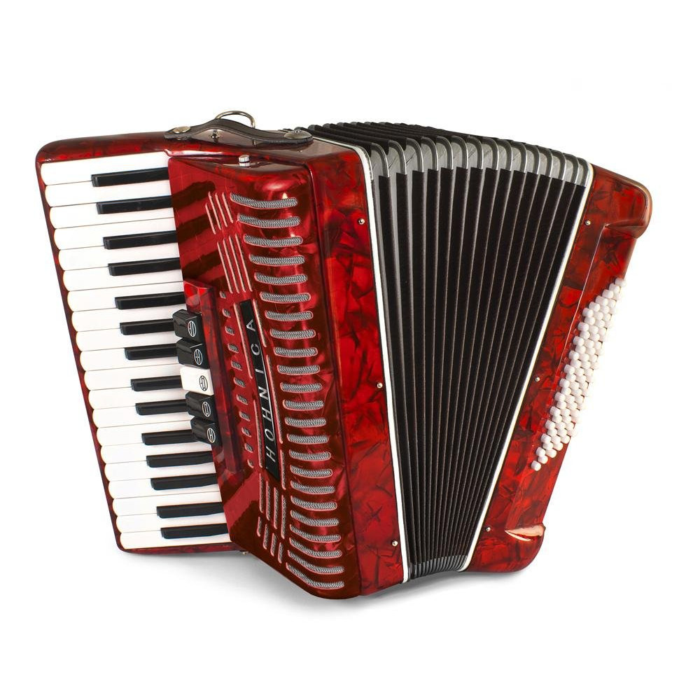 Hohner 72 Bass Entry Level Piano Accordion, pearl red