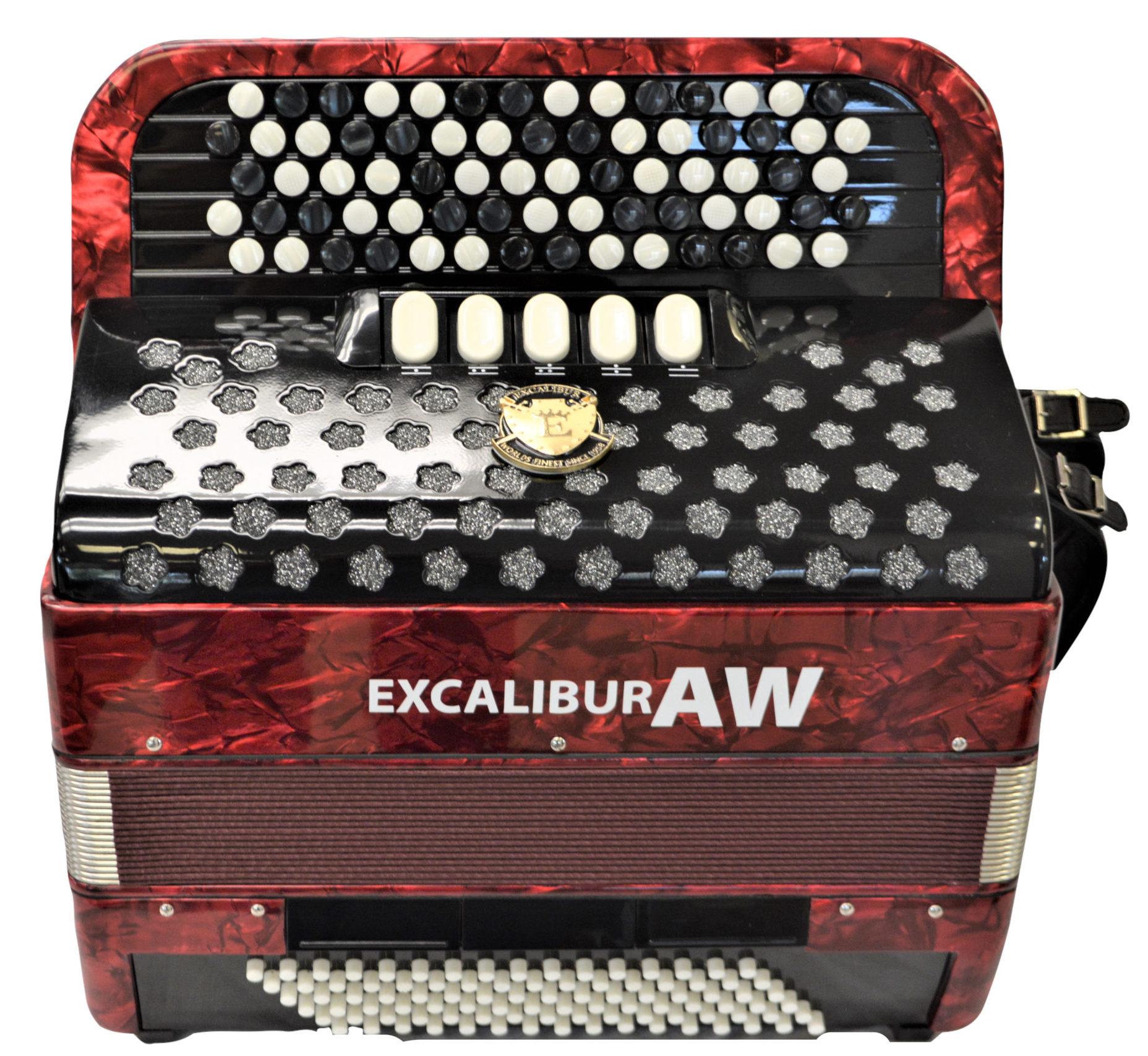 Excalibur 96 Bass Chromatic Button Accordion Akordeon Werks(AW) Red Polish C System