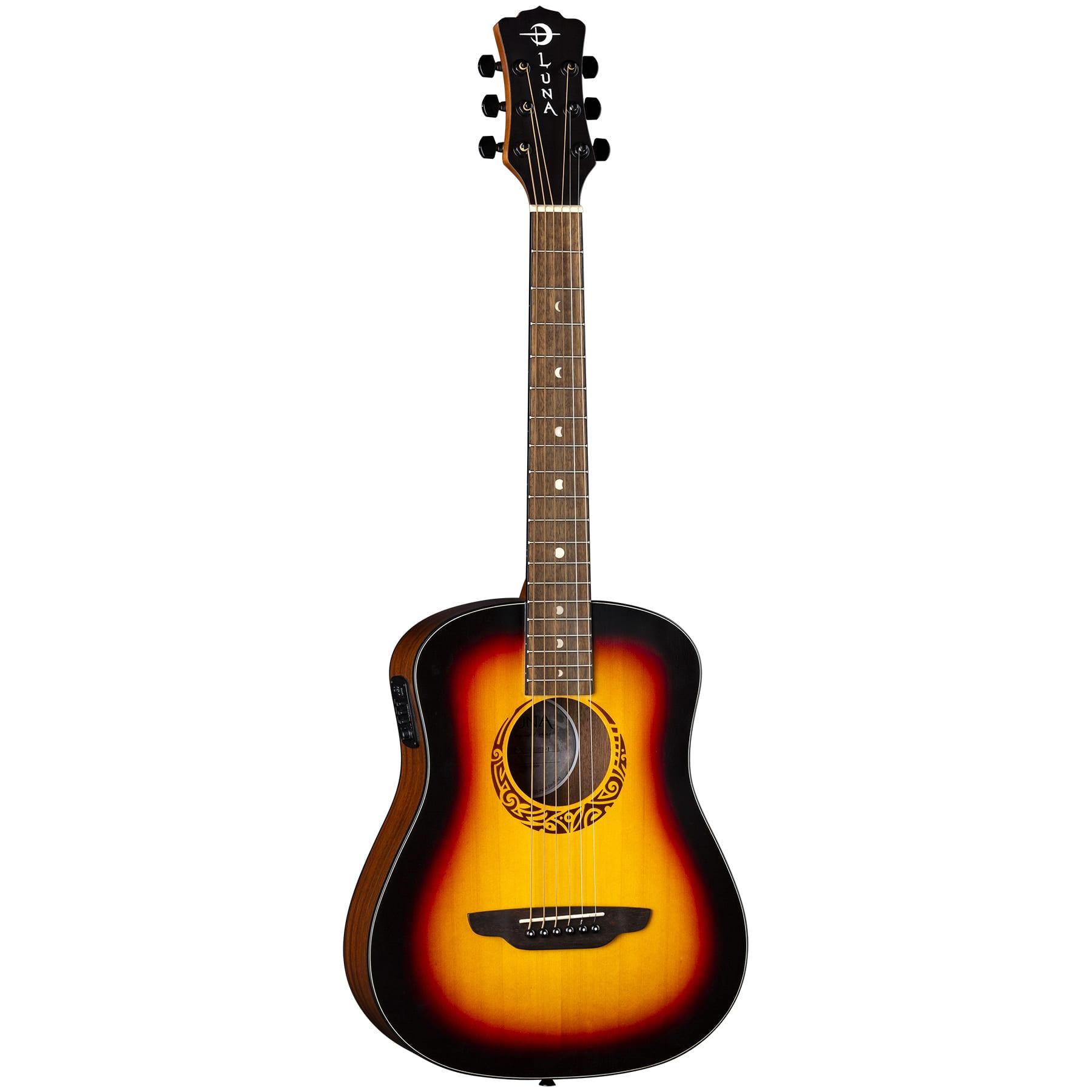 Luna Safari Tribal Tobacco Sunburst A/E Guitar