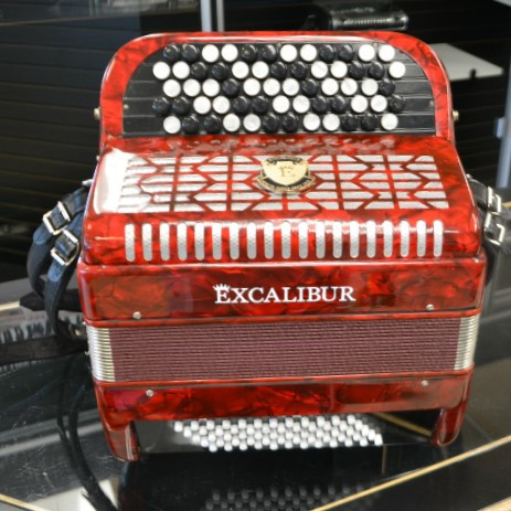 Excalibur 60 Bass Chromatic Button Accordion Red